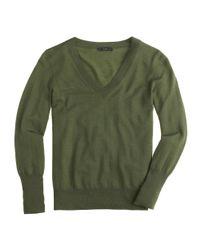 J.Crew - Green Merino Wool V-Neck Sweater - Lyst