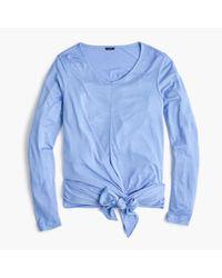 J.Crew - Blue Tie-front Long-sleeve T-shirt - Lyst