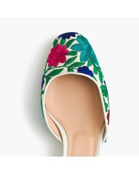 J.Crew Blue Ankle-wrap Slingback Heels With Embroidery
