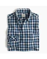 J.Crew Slim Heather Poplin Shirt In Blue Check for men