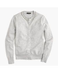 J.Crew Gray Cotton Jackie Beaded Cardigan Sweater