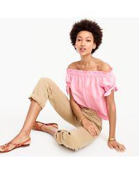 J.Crew Pink Off-the-shoulder Top In Silk Shantung