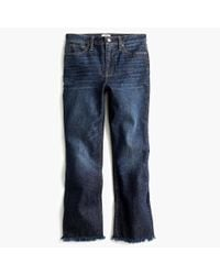 J.Crew Blue Petite Demi-boot Crop Jean With Frayed Hem