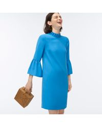 J.Crew Blue Ruffle-neck Shift Dress In 365 Crepe
