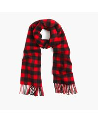 J.Crew | Red Cashmere Scarf In Plaid for Men | Lyst