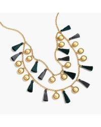 J.Crew Metallic Tassel Double Strand Necklace