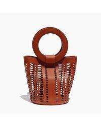 Modern Weaving Brown Mini Leather Cutout Bucket Bag