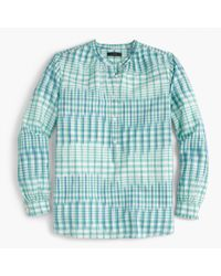 J.Crew Blue Popover In Gingham Ikat