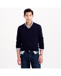 J.Crew Blue Rugged Cotton V-neck Sweater for men