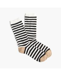 J.Crew   White Striped Trouser Socks In Lurex   Lyst
