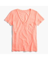 J.Crew | Pink Linen V-neck Pocket T-shirt | Lyst