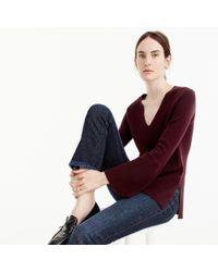 J.Crew - Multicolor Peplum-sleeve V-neck Sweater - Lyst