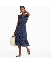 J.Crew - Blue Mercantile Cap-sleeve Midi Dress In Dragonfly Print - Lyst