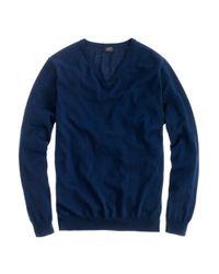 J.Crew Blue Tall Merino Wool V-Neck Sweater for men