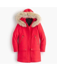 J.Crew | Red Tall Chateau Parka In Stadium-cloth | Lyst