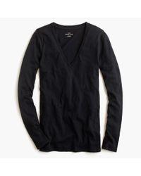J.Crew   Black Vintage Cotton Long-sleeve V-neck T-shirt   Lyst