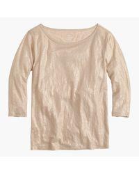 J.Crew   Linen Boatneck T-shirt In Metallic   Lyst