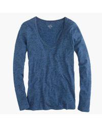 J.Crew | Blue Indigo Vintage Cotton Long-sleeve Scoopneck T-shirt | Lyst
