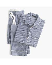 J.Crew | Blue Petite Cotton Textured-dot Sleep Set In Stripe | Lyst