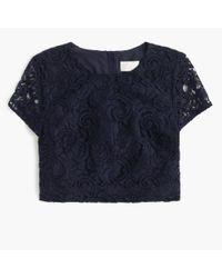J.Crew | Blue Floral Lace Short-sleeve Crop Top | Lyst