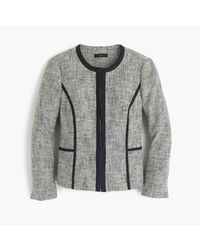 J.Crew | Gray Petite Collarless Contrast Jacket In Cotton Tweed | Lyst