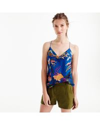 J.Crew | Blue Carrie Cami In Tropical Floral Print | Lyst