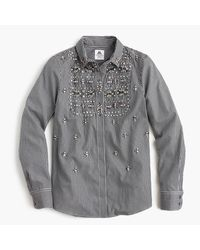 J.Crew | Black Collection Thomas Mason For J. Crew Embellished Gingham Button-up Shirt | Lyst