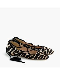 J.Crew Brown Lace-up Flats In Leopard Calf Hair