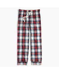 J.Crew Blue Petite Pajama Pant In Festive Plaid Cotton Poplin