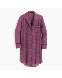 J.Crew - Purple Silk Nightshirt In Jewel Dot Print - Lyst