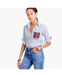 J.Crew - Multicolor Petite Striped Boy Shirt With Tartan Pocket - Lyst