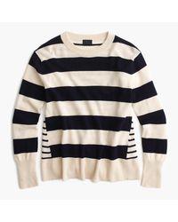 J.Crew | Blue Italian Cashmere Mixed-stripe Crewneck Sweater | Lyst