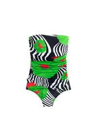J.Crew | Green Ruched Bandeau One-piece Swimsuit In Ratti Striped Floral | Lyst