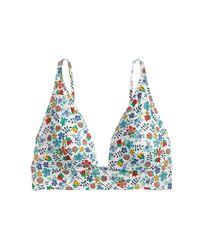 J.Crew | Blue Deep V-neck French Bikini Top In Liberty Edenham Floral | Lyst