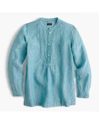 J.Crew | Blue Tall Popover Shirt In Irish Linen | Lyst
