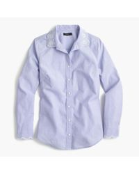 J.Crew | Multicolor Petite Perfect Shirt With Eyelet Trim | Lyst