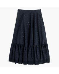 J.Crew | Blue Tiered Midi Skirt In Eyelet Poplin | Lyst