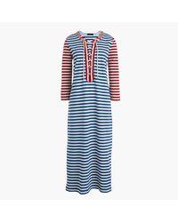 J.Crew | Blue Striped Lace-up Dress | Lyst
