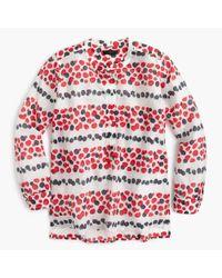 J.Crew   White Petite Cotton-silk Voile Popover Shirt In Berry Print   Lyst