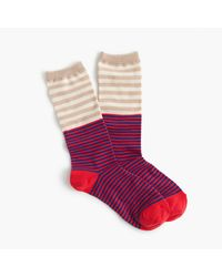 J.Crew   Multicolor Trouser Socks In Colorblock Stripe   Lyst