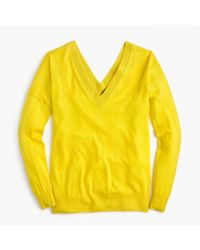 J.Crew Yellow Italian Featherweight Cashmere Double V-neck Sweater