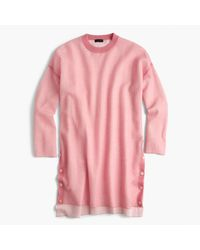 J.Crew | Pink Oversized Side-button Tunic Sweater | Lyst
