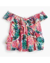 J.Crew | Multicolor Ruffle Top In Ratti Painted Pineapple | Lyst