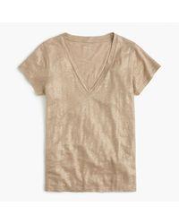 J.Crew | New Linen T-shirt In Metallic | Lyst