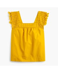 J.Crew | Yellow Tall Eyelet Top With Tassel Trim | Lyst