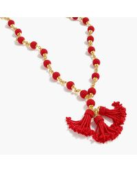 J.Crew | Red Beaded Tassel Pendant Necklace | Lyst