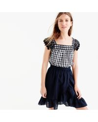 J.Crew | Black Embroidered Gingham Top | Lyst