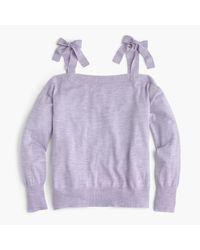 J.Crew - Purple Merino Wool Cold-shoulder Sweater - Lyst