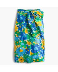 J.Crew Blue Tall Tie-waist Skirt In Puckered Morning Floral