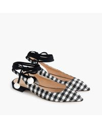 J.Crew Black Lily Ankle-wrap Flats In Gingham
